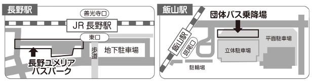 長野駅、飯山駅前のバス停地図